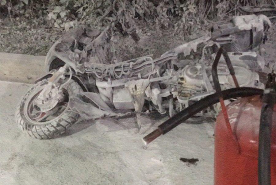 Фото: на кузбасской заправке взорвался скутер